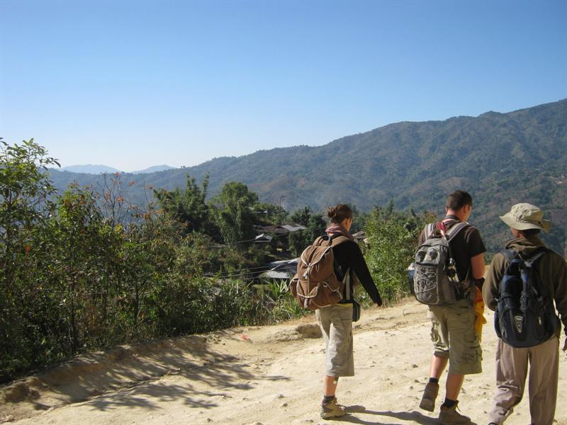 Jeerome, Sarah and Moung-MOung - our guide in the 3 day trek back from Namshan to Hsipaw