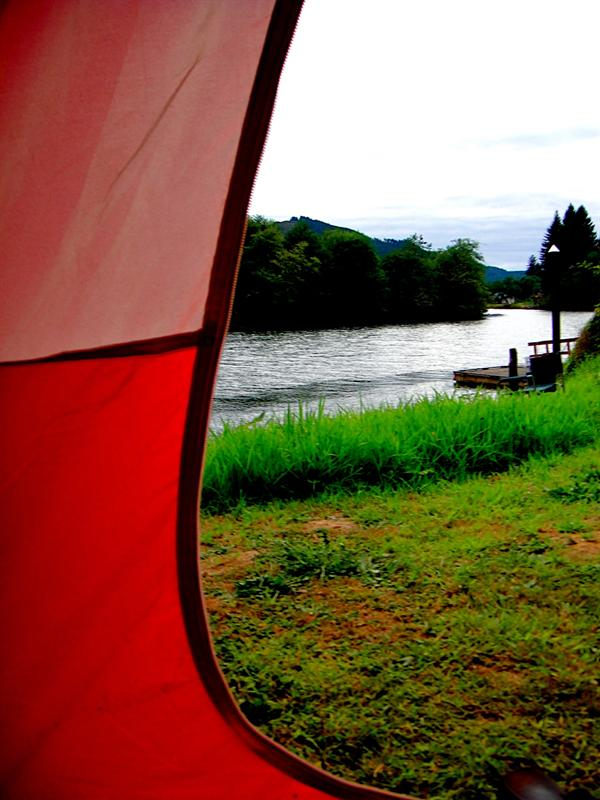 View of Siletz River, near Lincoln City, OR. Found the last campin' spot at Sunset Landing for $20/night!