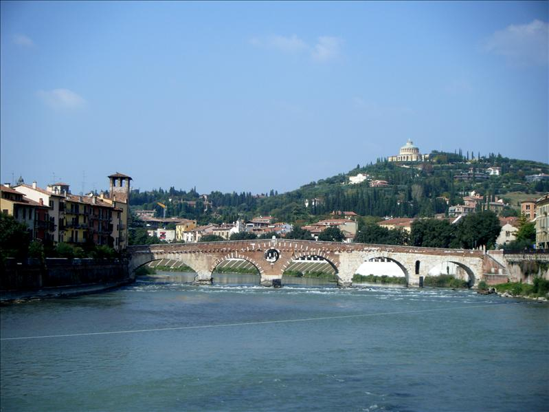 the bridge we were walking to to cross into verona
