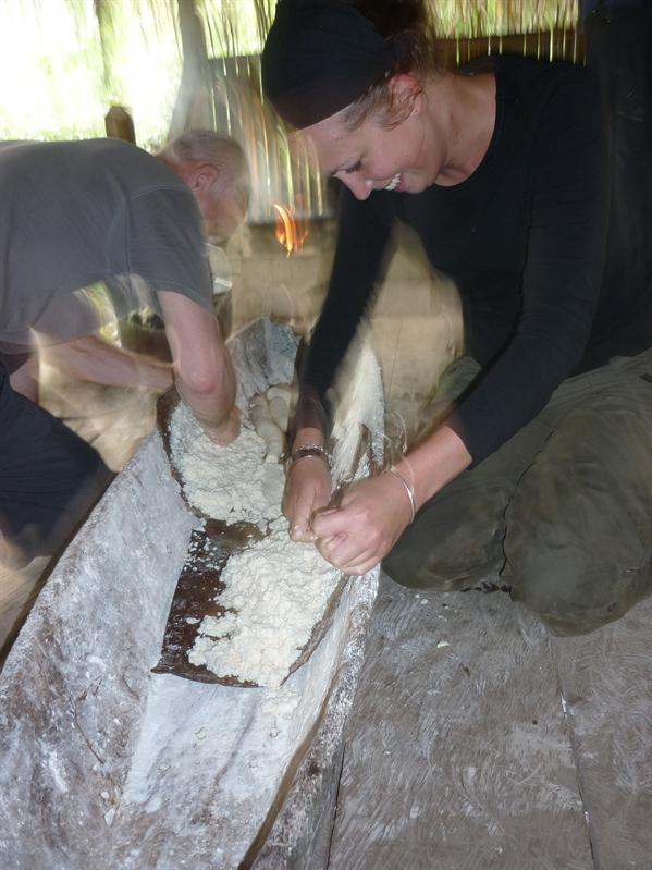 Making yucca bread with the locals. Too much effort for something that ultimately wasn't very nice!