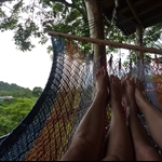 Lesbians! Enjoying the hammock action on the terrace...