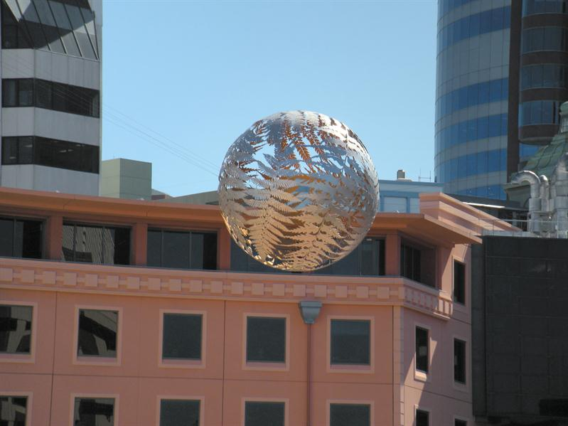 A globe seems to hang on it's own in the main Wellington Square