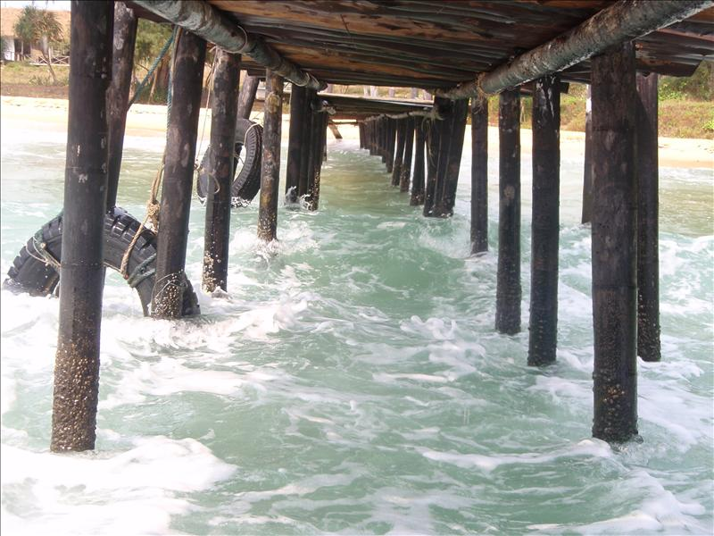 Looking back under the pier