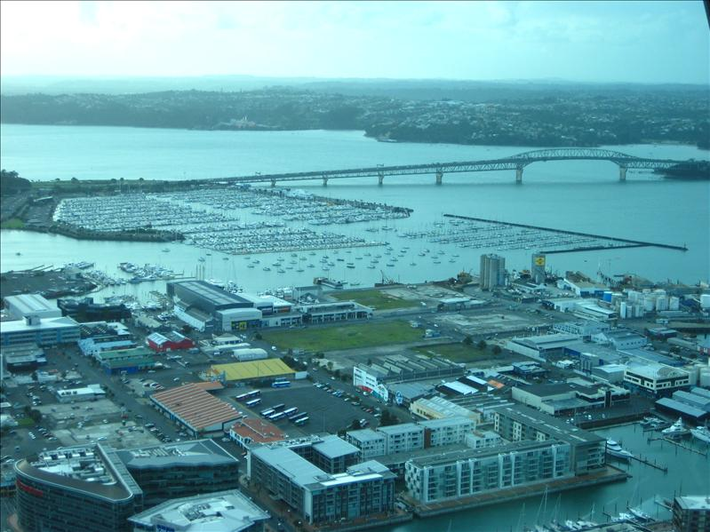 View of Auckland harbor from Sky Tower