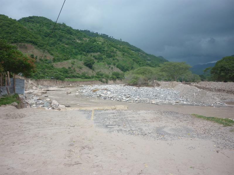 Our road disappears into the river...