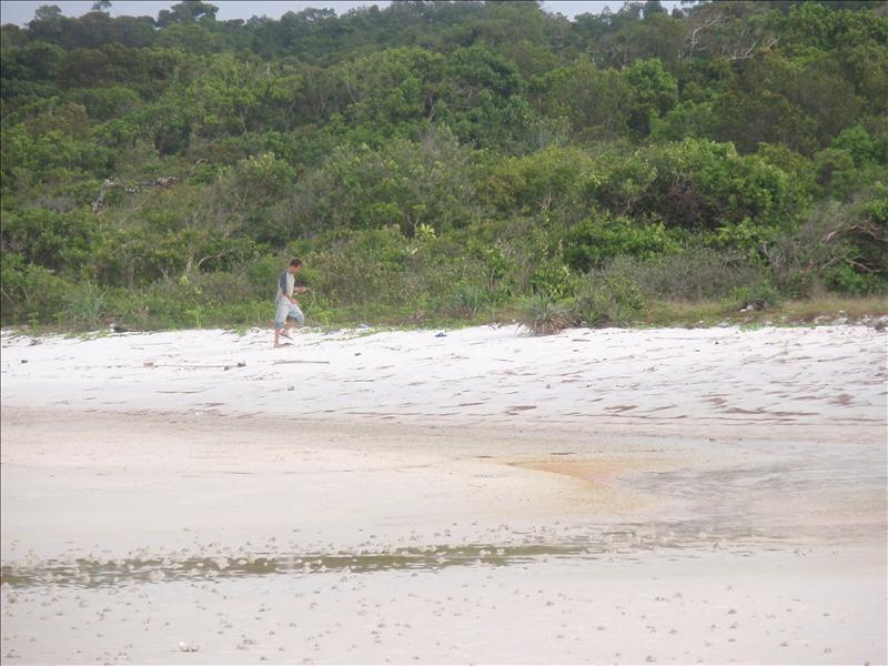Eric searches for washed-up rubbish for his altar