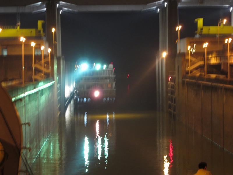 "In middle of the night , the ship started to pass the ""Five Step Ship Lock"". The gate of the first ""ship lock"" was opened and our ship entered at about 12:30 am and waited there for the second gate of the second ""ship lock"" opened. It took about 3 hours to go through each ""ship Lock""."