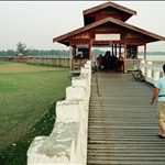 089.JPGU Bein�s Bridge � a 1.2 km wooden footbridge (longest teak bridge in the world) built by the mayor U Bein salvaging the unwanted teak columns from the old palace during the move to Mandalay