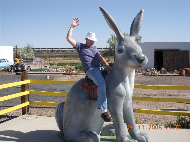Clint riding the rabbit like a broncin' bull