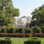 Gardens of Karohi Haveli - view of Udaipur