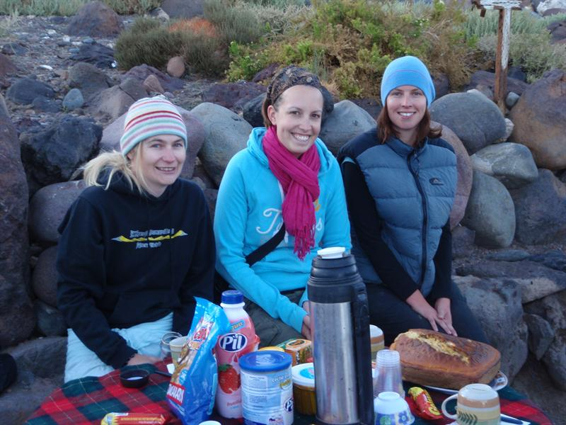 Lou, Abby and Anna having breakfast just after dawn on the Salt Flats...