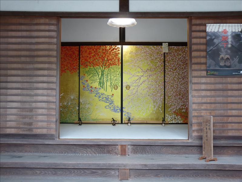 nice golden leaf door at Enkoji temple