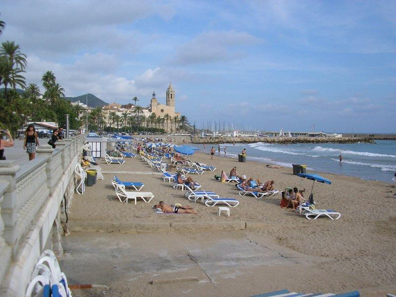 Sunny seafront at Sitges.