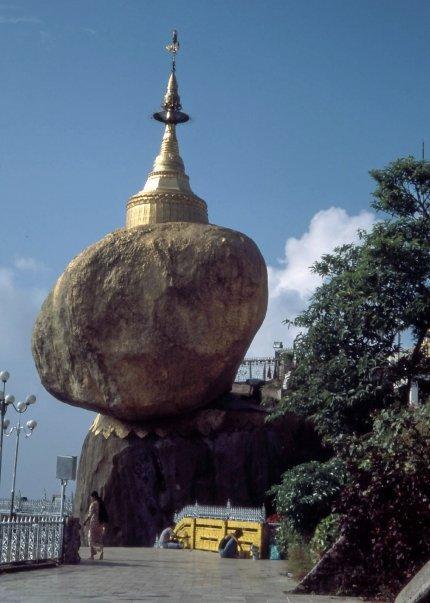 BALANCING BOULDER STUPA, KYAIKTIYO, MYANMAR