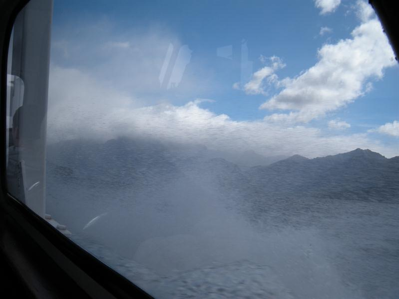 Spray from the boat on Lake Manapouri
