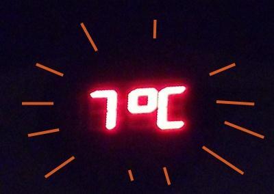 晚上回家時的溫度 ~ 7度C
