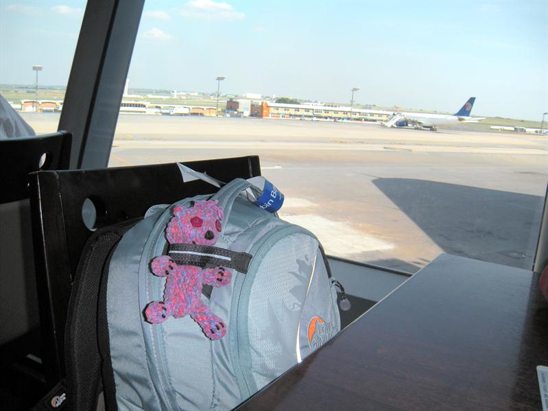 Andrea's teddy at Jo'Burg airport