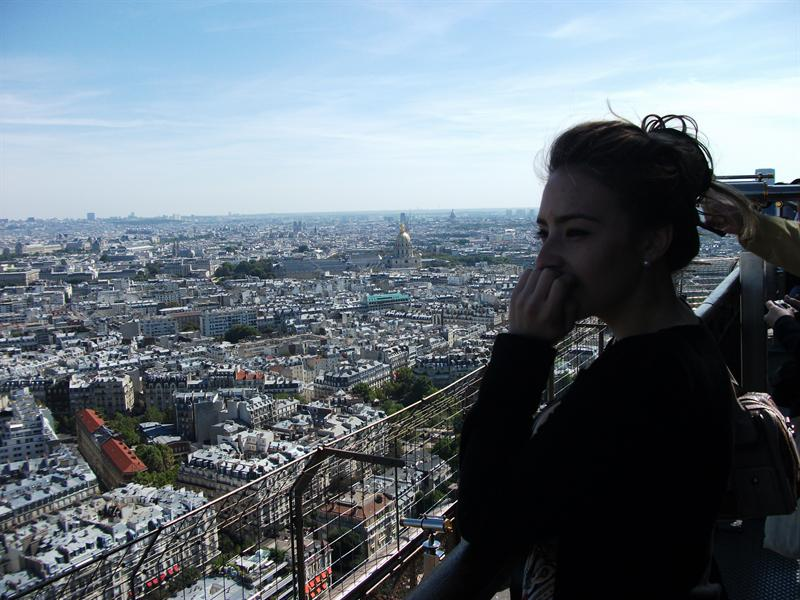 Me at Eiffel Tower looking at view.