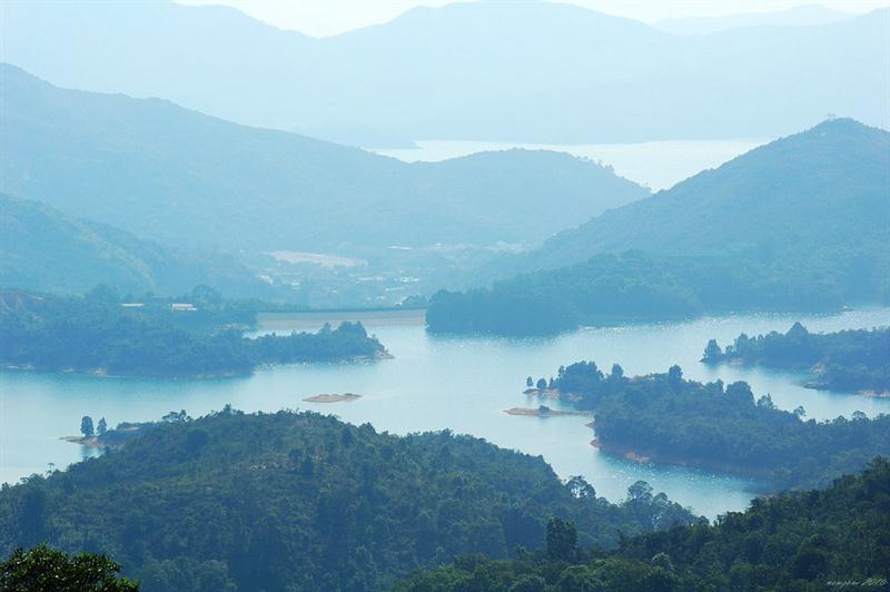下望有迷你千島湖之稱的大欖涌水塘