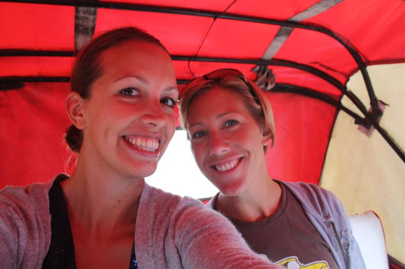 Getting on our first tuktuk together...