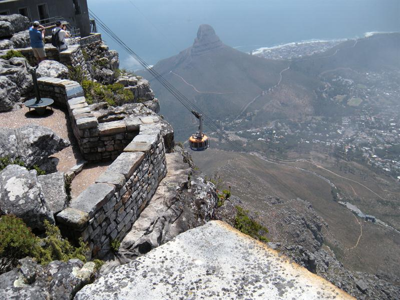 Cable car from top of Table Mountain