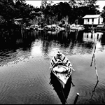 Kampung Nelayan/fishermen village in black-white mode