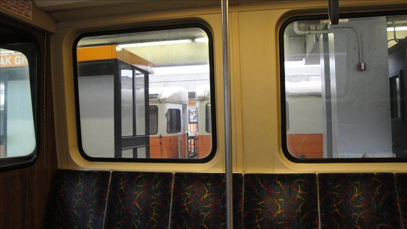 The T we took into Boston leaving Oak Grove Station