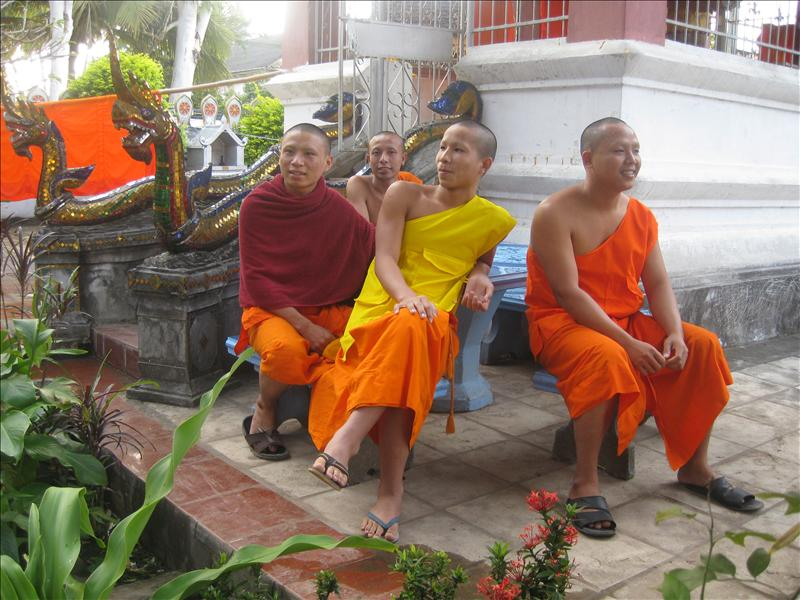 Young monks are anxious to practise their English skills