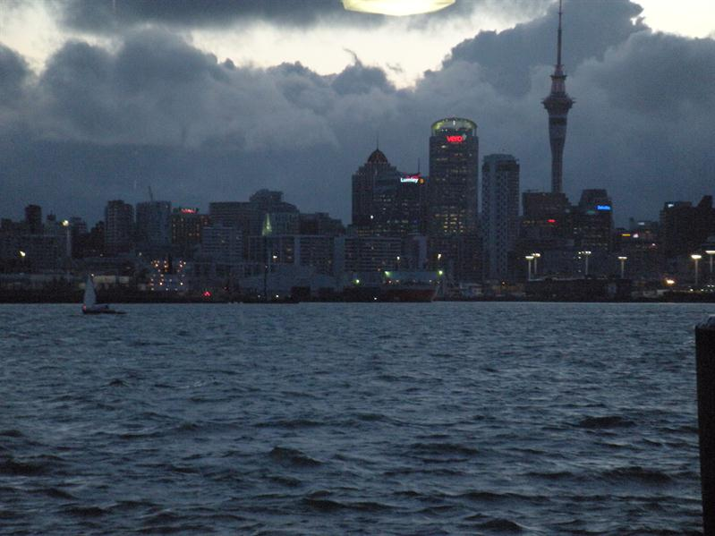 Auckland from Davenport ferry terminal at dusk