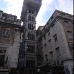 elevador de santa justa, designed by Raul Mesnier de Ponsard, apprentice of Gustave Eiffel. Construction began in