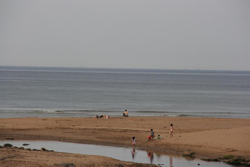 海灘也冷冷清清的