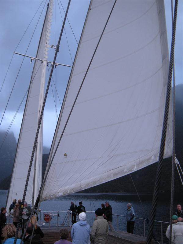 Setting the sails on Fjiordland Navigator