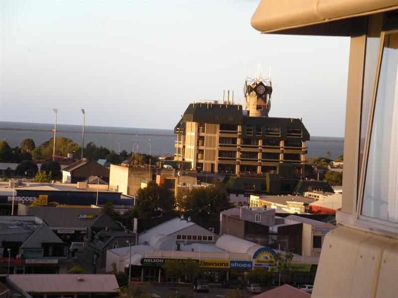 View of the Nelson clock tower from our room