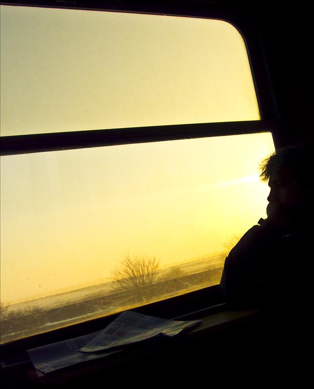 Silhouette in the train