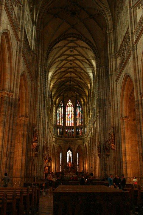 The zigzag pattern of net vaults in St. Vitus Cathedral.