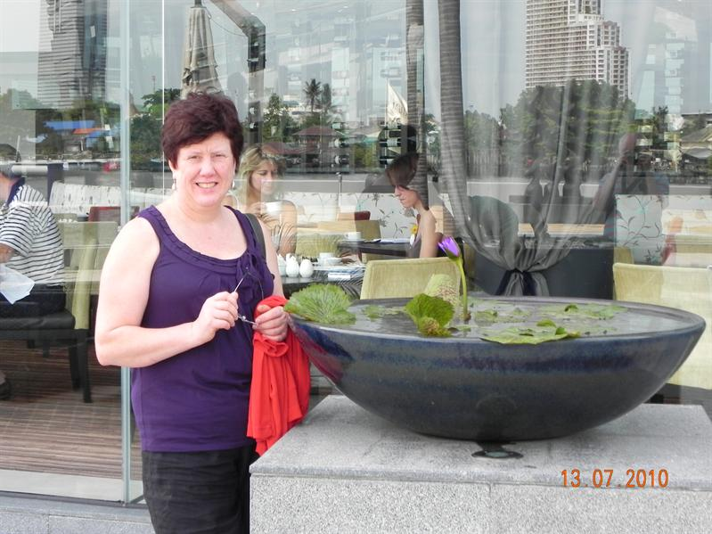 Andrea admiring tropical water lillies