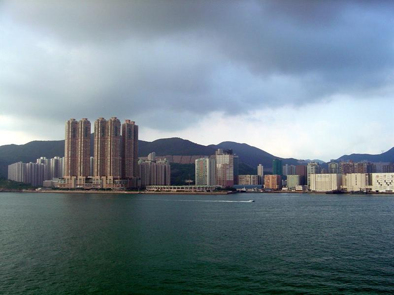 "ship passing by the""Chai Wan"" district (柴 灣 ) on Hong Kong side."