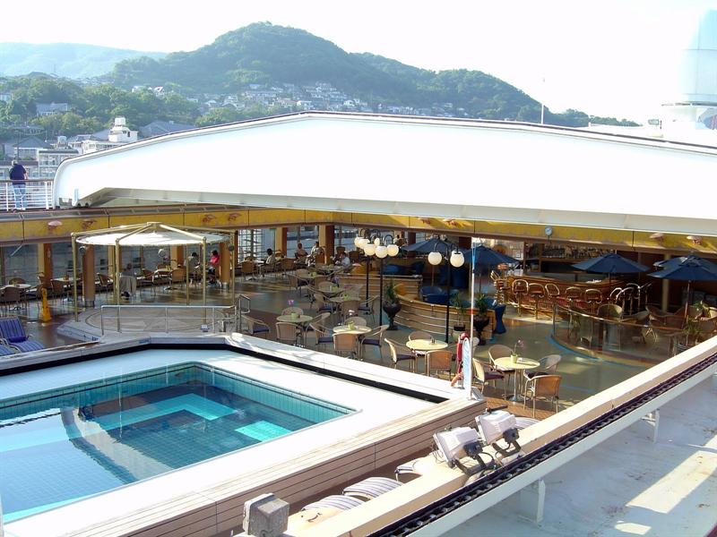 "the roof of this ""Lido deck"" can be opened by sliding."