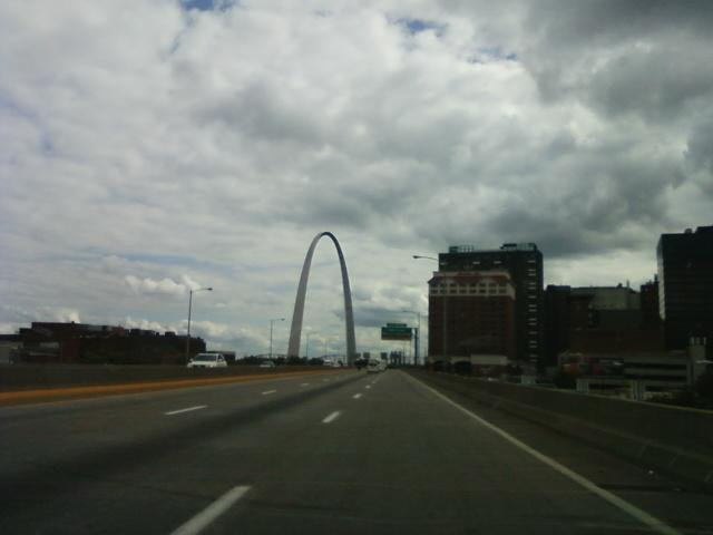 the Gateway Arch viewed southbound on I-70