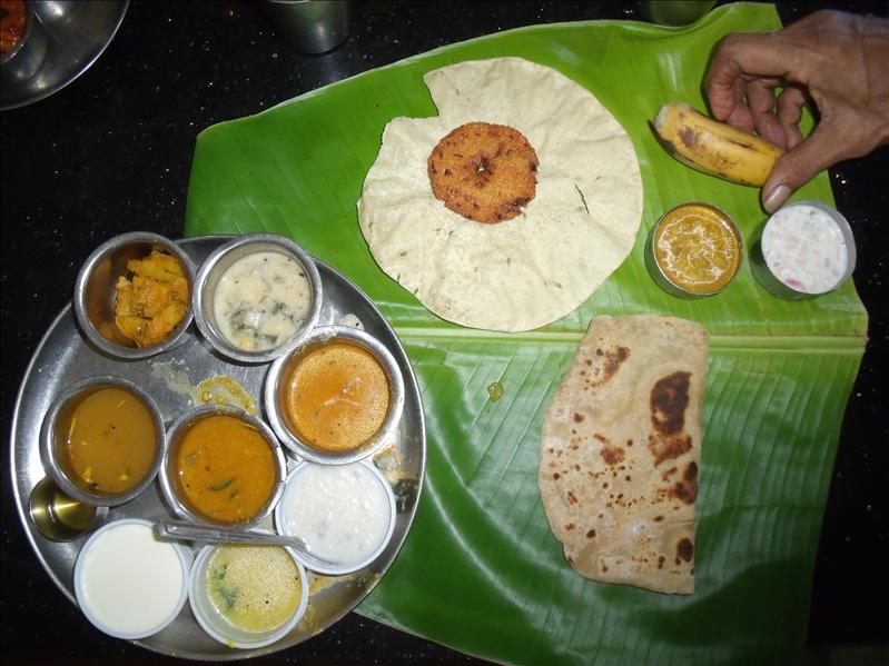 The ultimate thali, beautifully cooked– curries, curd, papad, chapati, rice (came later) and dessert – Mamalla Bhavan, Mahabalapuram