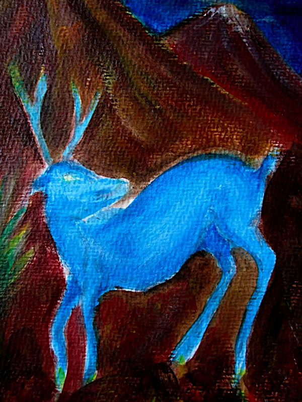 My first painting of the year. Blue Deer in Mexico