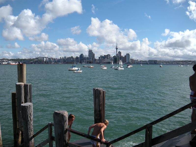 Looking across to Auckland city