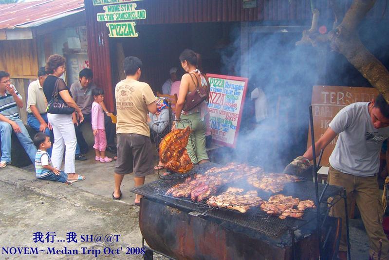Lake Toba有名的烧野猪店