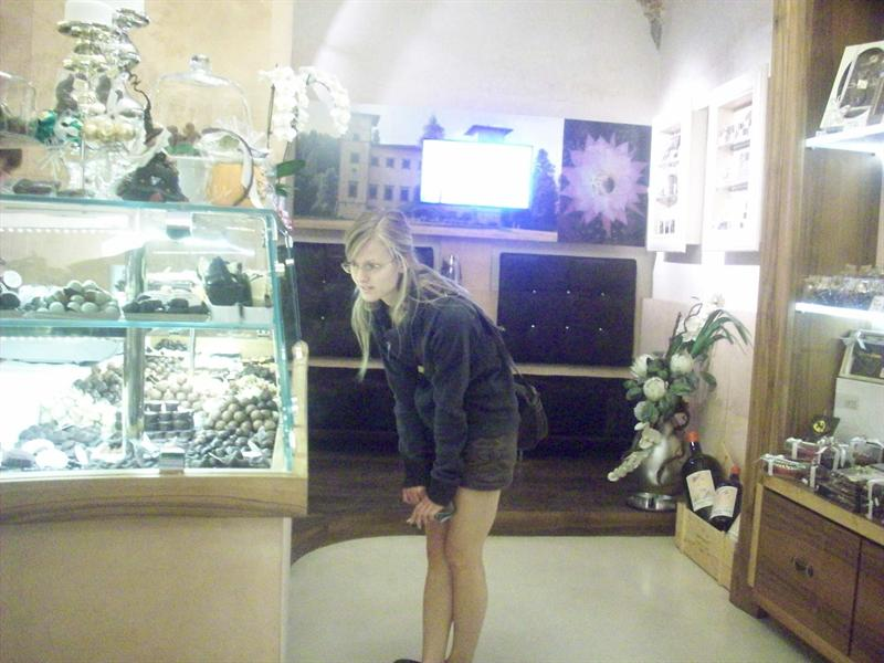 Jess in a chocolate shop X.X
