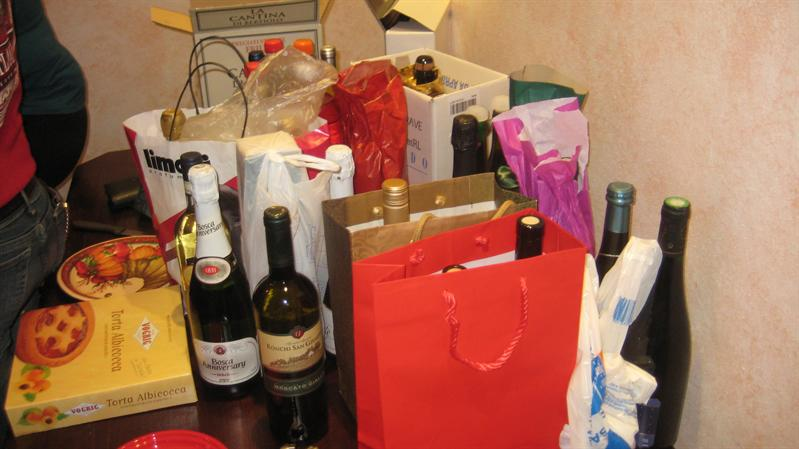 the italians were welcome to bring wine..this is just the leftover pile!