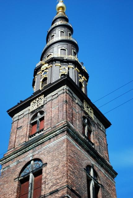 Chocolate brown spire of Vor Freisers Kirke