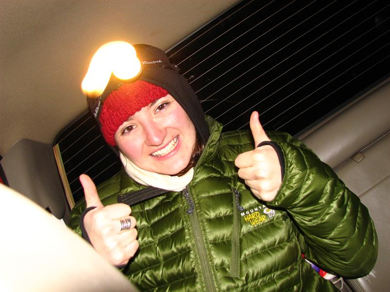 Thumbs up for night snowshoeing