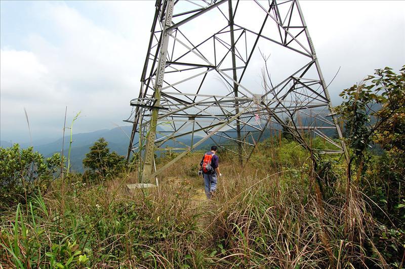 穿過電線塔