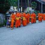 Monks receiving alms in the morning (daily at around 6am)