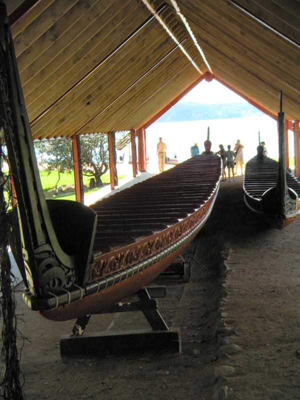 One of the largest Maori war canoes at Waitangi